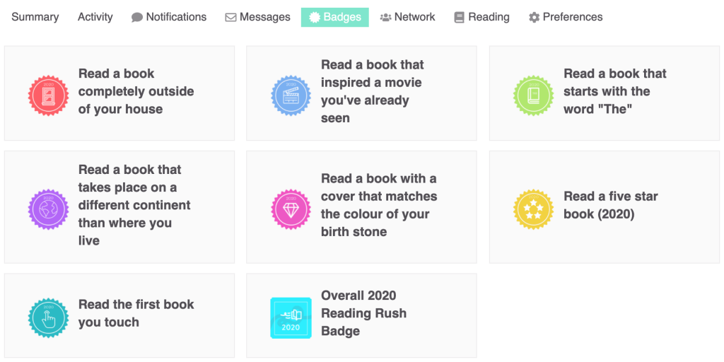 the reading rush badges